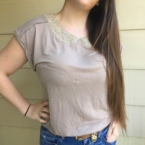 Baby-Doll Sequin Collar American Eagle Blouse